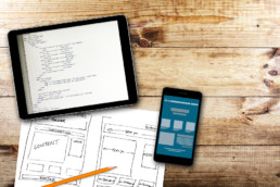 Diagram and ipad and iphone workstation